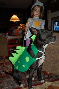 My daughter and dog as a mighty knight and Eggbert the dragon.
